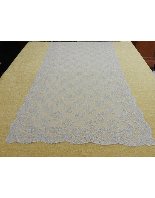 Mantilla bordada a máquina 100*220 en color plata